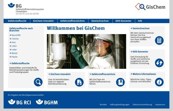 Vorschau von www.gischem.de, GisChem - Gefahrstoffinformationssystem der Berufsgenossenschaft der chemischen Industrie