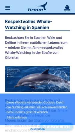 Vorschau der mobilen Webseite www.firmm.org, Wale und Delfine in der Straße von Gibraltar