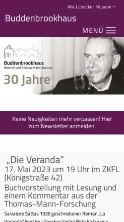 Vorschau der mobilen Webseite www.buddenbrookhaus.de, Buddenbrookhaus