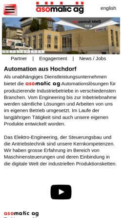 Vorschau der mobilen Webseite www.asomatic.ch, Asomatic AG