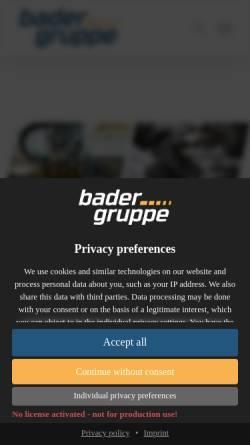 Vorschau der mobilen Webseite www.bader-w.com, Bader GmbH & Co. KG
