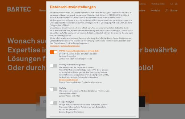 Vorschau von www.bartec.de, Bartec Sicherheits-Schaltanlagen GmbH