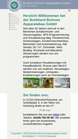 Vorschau der mobilen Webseite www.buhrow.de, Burkhard Buhrow Apparatebau GmbH