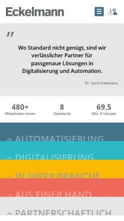 Vorschau der mobilen Webseite www.eckelmann.de, Eckelmann AG