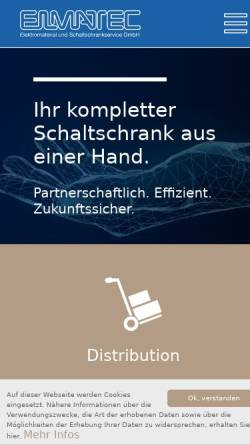 Vorschau der mobilen Webseite www.elmatec-sb.de, Elmatec Elektromaterial und Schaltschrankservice GmbH