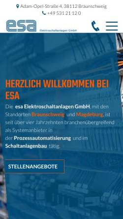 Vorschau der mobilen Webseite www.esa-bs.de, ESA Elektroschaltanlagen GmbH
