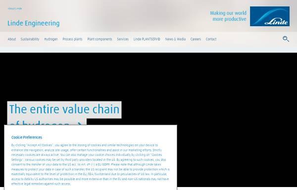 Vorschau von www.linde-anlagenbau.de, Geschäftsbereich Verfahrenstechnik und Anlagenbau der Linde AG