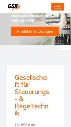 Vorschau der mobilen Webseite www.gsr-online.de, GSR Gesellschaft für Steuerungs- und Regeltechnik mbH