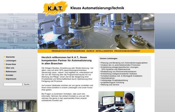 Vorschau von www.kat-automatisierung.de, K.A.T. Kleuss AutomatisierungsTechnik Gesellschaft für Prozessautomatisierung mbH & Co. KG