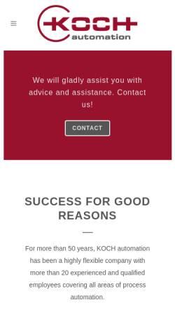 Vorschau der mobilen Webseite www.koch-elektrobau.de, Koch Elektrobau und Automatisierung GmbH