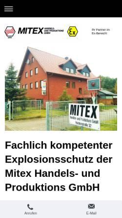 Vorschau der mobilen Webseite www.mitex-gmbh.de, Mitex Handels- und Prod. GmbH
