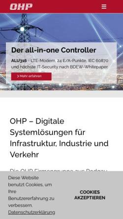Vorschau der mobilen Webseite www.ohp.de, OHP Automatisierungssysteme GmbH