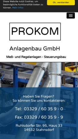 Vorschau der mobilen Webseite www.prokom-anlagenbau.de, Prokom Anlagenbau GmbH