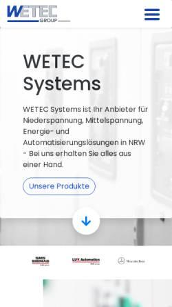 Vorschau der mobilen Webseite www.wetec.eu, WETEC Elektrotechnik GmbH / WETEC Systemtechnik GmbH