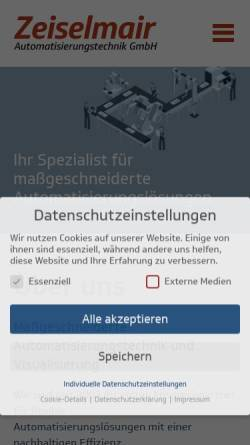 Vorschau der mobilen Webseite www.zat-gmbh.de, Zeiselmair Automatisierungstechnik GmbH