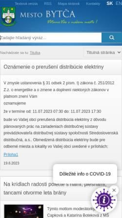 Vorschau der mobilen Webseite www.bytca.sk, Bytča
