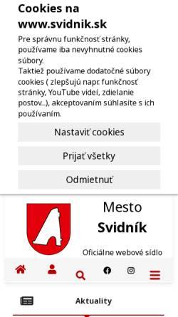 Vorschau der mobilen Webseite www.svidnik.sk, Svidnik