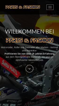 Vorschau der mobilen Webseite www.partsandfashion.de, Honda Vertragshändler in 92355 Velburg
