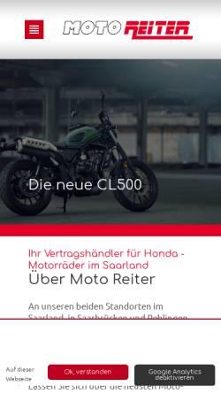 Vorschau der mobilen Webseite www.moto-reiter.de, Partner für Honda-Motorräder im Saarland.