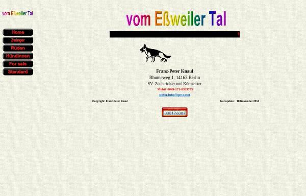 Vorschau von www.essweiler-tal.de, Deutsche Schäferhunde vom Essweiler Tal