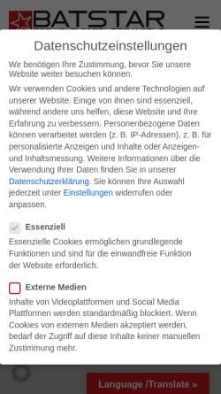 Vorschau der mobilen Webseite www.batstar24.de, Batstar GmbH