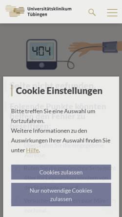 Vorschau der mobilen Webseite www.medizin.uni-tuebingen.de, Tübingen - Abteilung Klinische Pharmakologie am Universitätsklinikum