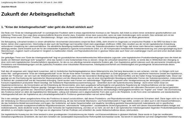 Vorschau von www.labournet.de, Zukunft der Arbeitsgesellschaft