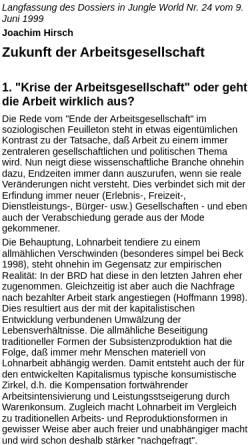 Vorschau der mobilen Webseite www.labournet.de, Zukunft der Arbeitsgesellschaft