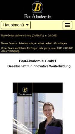 Vorschau der mobilen Webseite www.bau-akademie.de, BauAkademie GmbH