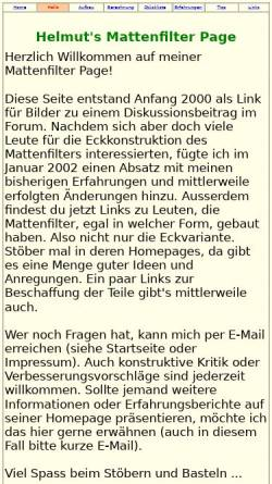 Vorschau der mobilen Webseite www.helmut-wick.de, Hamburger Mattenfilter über Eck