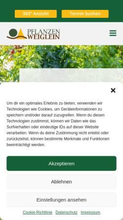 Vorschau der mobilen Webseite www.pflanzen-weiglein.de, Pflanzen Weiglein