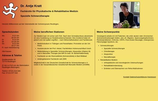 Vorschau von www.schmerzpraxis-reutlingen.de, Dr. Antje Kratt