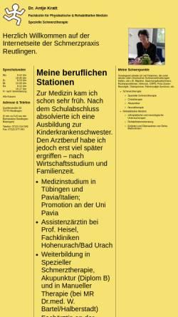 Vorschau der mobilen Webseite www.schmerzpraxis-reutlingen.de, Dr. Antje Kratt