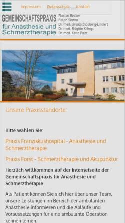 Vorschau der mobilen Webseite www.schmerzkreis.net, Gemeinschaftspraxis für Anästhesie und Schmerztherapie