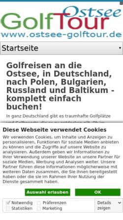 Vorschau der mobilen Webseite www.ostsee-golftour.de, Ostsee Golftours