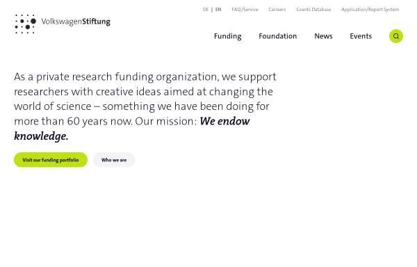 Vorschau von www.volkswagenstiftung.de, Volkswagen-Stiftung