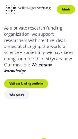 Vorschau der mobilen Webseite www.volkswagenstiftung.de, Volkswagen-Stiftung