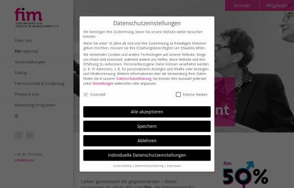 Vorschau von www.fim.de, FIM Vereinigung für Frauen im Management e.V.