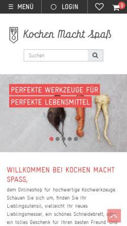 Vorschau der mobilen Webseite www.kochen-macht-spass.com, Qiwi Service, KMS, Stefan Roth