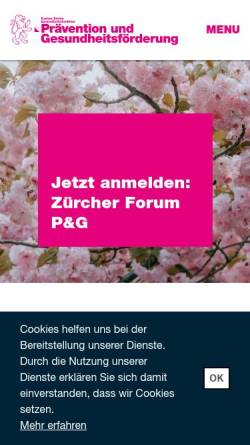 Vorschau der mobilen Webseite www.gesundheitsfoerderung-zh.ch, Institut für Sozial- und Präventivmedizin der Universität Zürich