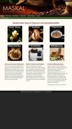 Vorschau der mobilen Webseite maskal.de, Maskal - fine coffee company, Dr. Hans-Jürgen Langenbahn