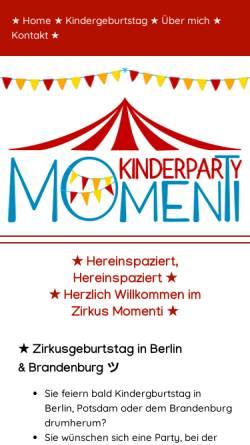 Vorschau der mobilen Webseite www.zirkus-kindergeburtstag.de, Mitmachzirkus für Kindergeburtstag