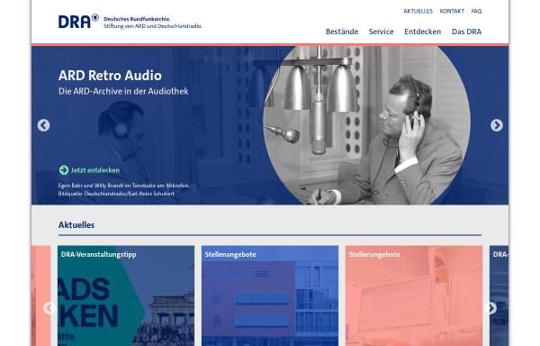 Vorschau von www.dra.de, Deutsches Rundfunkarchiv
