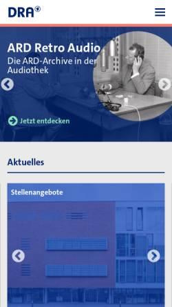 Vorschau der mobilen Webseite www.dra.de, Deutsches Rundfunkarchiv