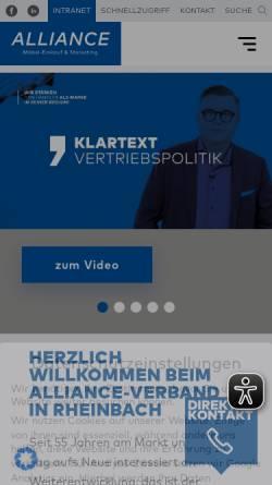 Vorschau der mobilen Webseite www.alliance.de, Alliance Möbel Marketing & Co Kg