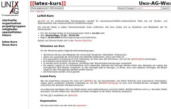 Vorschau von www.unix-ag.uni-kl.de, LaTeX-Kurs, Unix-AG TU Kaiserslautern