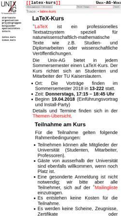 Vorschau der mobilen Webseite www.unix-ag.uni-kl.de, LaTeX-Kurs, Unix-AG TU Kaiserslautern