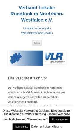 Vorschau der mobilen Webseite www.vlr-nrw.de, Verband lokaler Rundfunk in Nordrhein-Westfalen e.V. (VLR)