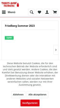 Vorschau der mobilen Webseite www.ticket-shop-friedberg.de, Ticket-Shop Friedberg