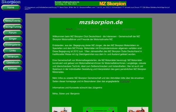 Vorschau von www.mzskorpion.de, MZ Skorpion - Das Forum für echte MZ - Fans.